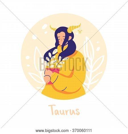 Taurus Zodiac Sign. Earth. Female Character And Element Of Ancient Astrology.
