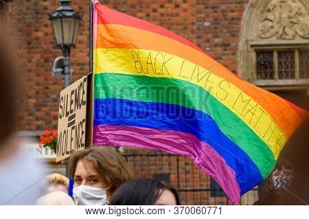 Wroclaw, Poland, 06.06.2020 - Rainbow Gay Flag With Words