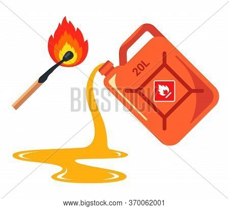 Spilled Gas From A Canister. Banner Caution Flammable. Flat Vector Illustration Isolated On White Ba