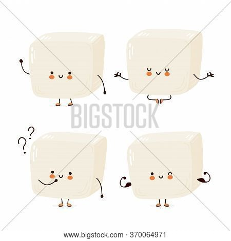 Cute Happy Funny Tofu Set Collection. Vector Cartoon Character Hand Drawing Style Illustration. Isol