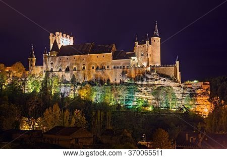 View Of Castle Of Segovia In Midnight . Castile And Leon, Spain. It Is Hdr