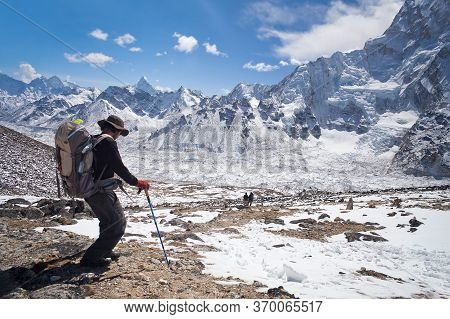 Khumbu, Nepal - March 17, 2010: Climber Going To Everest Base Camp In Sagarmatha National Park, Ever