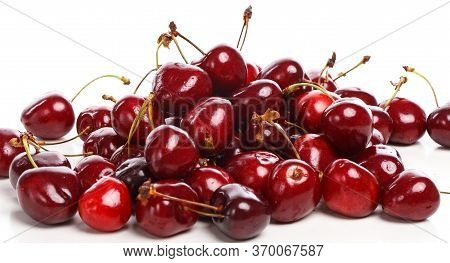 Cherry Isolated. Sour Cherry. Cherries With Leaves On White Background. Sour Cherries On White