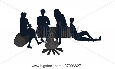 Concept Of Summer Holidays In Nature. People Or Family Silhouettes Sitting On Logs, Enjoying Time At
