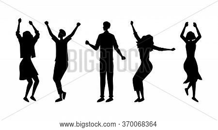 Dance Party Concept. Fashion People Silhouettes Are Dancing Together. Satisfied Characters In Differ