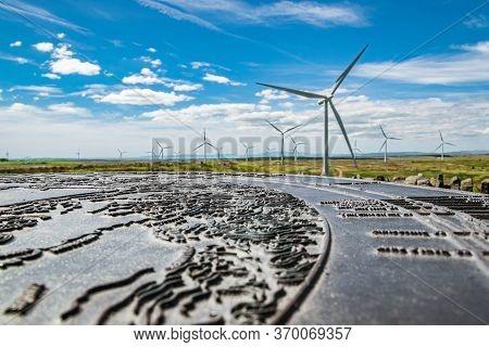 Whitelee Windfarm, Eaglesham Moor, Scotland - May 30, 2020: Wind Turbines On Whitelee Wind Farm On A