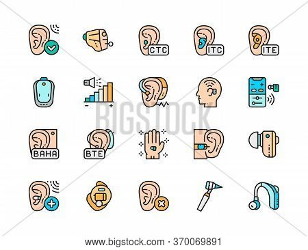 Set Of Hearing Aid Color Icons. Ear Canal, Volume Control, Headphones And More.