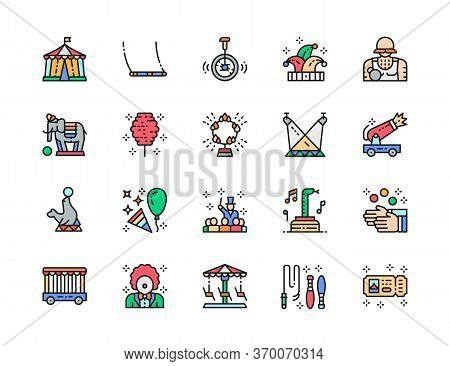 Set Of Circus Color Line Icons. Clown, Jester Hat, Elephant, Juggler And More.