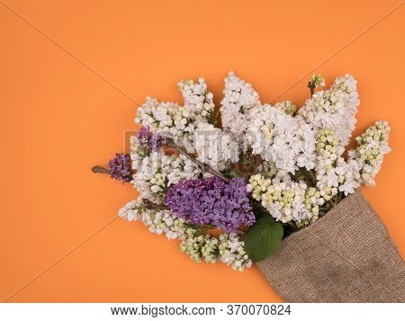 Bouquet Of Lilac In A Sack Of Burlap. Orange Background.