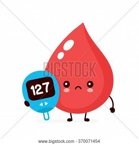 Cute Sad Blood Drop With Glucose Measuring Device Character. Vector Flat Style Cartoon Illustration