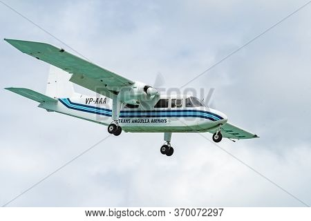 Philipsburg, Sint Maarten - November 16 2018: Trans Anguilla Airways Vp-aaa, A Britten-norman Bn-2a-