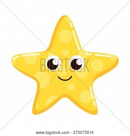 Cartoon Character Starfish Isolated On White Background, Colorful Design For Kids, Vector Illustrati