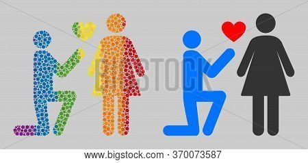 Engagement Persons Composition Icon Of Circle Elements In Different Sizes And Rainbow Color Hues. A