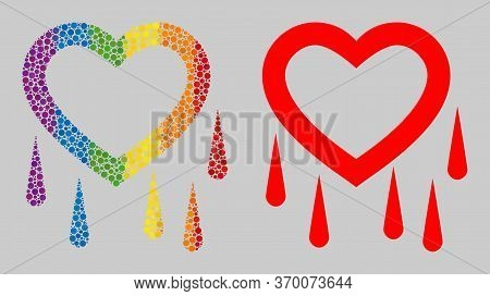Crying Heart Composition Icon Of Circle Elements In Various Sizes And Rainbow Colored Color Hues. A