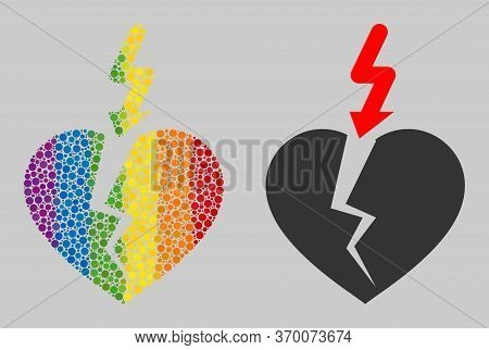 Break Heart Composition Icon Of Spheric Dots In Various Sizes And Spectrum Color Tinges. A Dotted Lg
