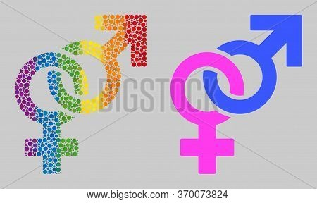 Straight Sex Symbol Mosaic Icon Of Filled Circles In Variable Sizes And Spectrum Colored Shades. A D
