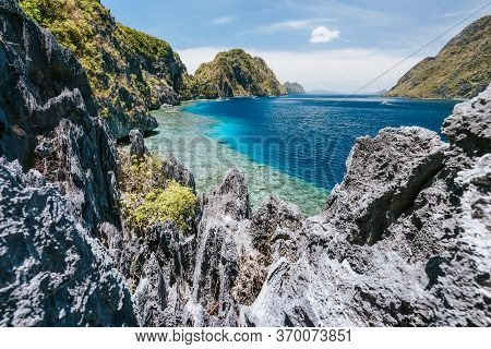 The Famous View Of The Tapiutan Strait In El Nido, Palawan - Philippines