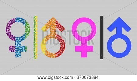 Toilet Gender Symbol Mosaic Icon Of Round Dots In Various Sizes And Spectrum Colored Color Tints. A