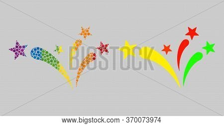 Star Fireworks Collage Icon Of Spheric Dots In Various Sizes And Spectrum Colored Color Tints. A Dot