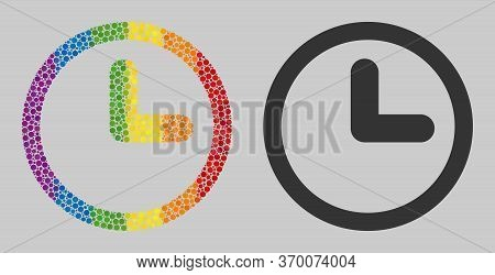 Clock Mosaic Icon Of Circle Elements In Various Sizes And Rainbow Colorful Color Tinges. A Dotted Lg
