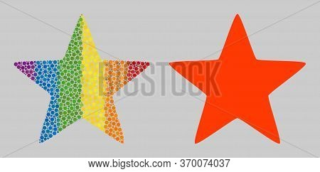Red Star Collage Icon Of Round Dots In Various Sizes And Spectrum Colored Color Tints. A Dotted Lgbt