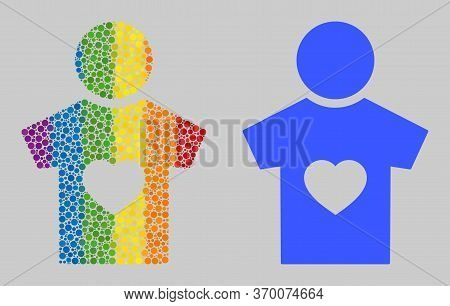 Boyfriend Composition Icon Of Round Dots In Variable Sizes And Spectrum Colored Color Hues. A Dotted