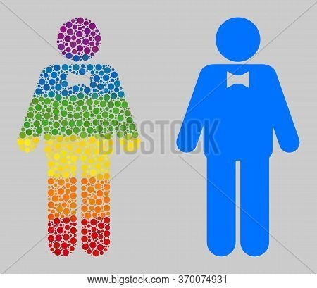 Groom Composition Icon Of Circle Spots In Variable Sizes And Spectrum Color Hues. A Dotted Lgbt-colo