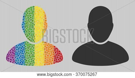 User Mosaic Icon Of Round Dots In Variable Sizes And Rainbow Colored Shades. A Dotted Lgbt-colored U