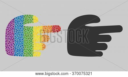 Right Index Finger Collage Icon Of Round Dots In Variable Sizes And Spectrum Colored Color Hues. A D
