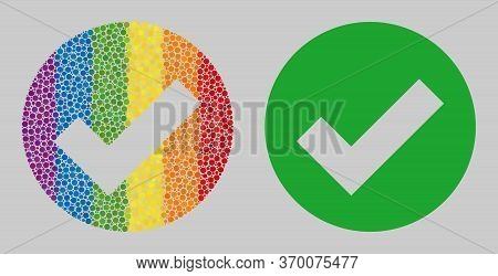 Valid Mosaic Icon Of Filled Circles In Variable Sizes And Rainbow Color Hues. A Dotted Lgbt-colored