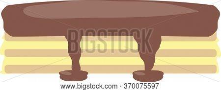 Boston Cream Pie with Chocolate Sauce Illustration