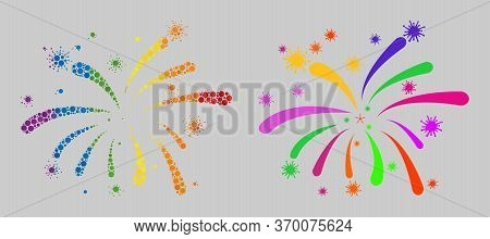 Viral Fireworks Mosaic Icon Of Circle Elements In Different Sizes And Spectrum Color Tinges. A Dotte