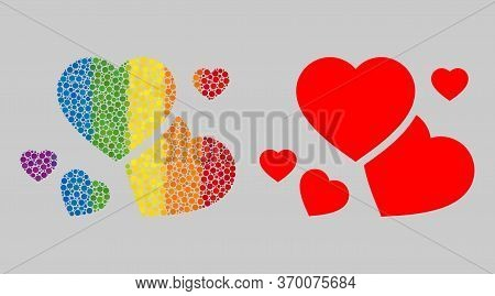 Romantic Hearts Composition Icon Of Circle Spots In Different Sizes And Rainbow Colored Color Hues.