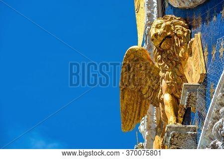 St Mark`s Basilica Or San Marco Closeup, Beautiful Rooftop On Blue Sky Background, Venice, Italy. De