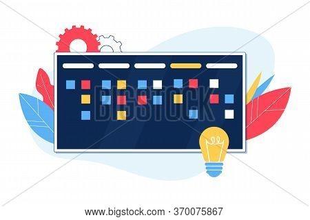 Agile Methodology Concept. Kanban Board. Vector Illustration.