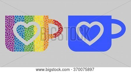 Favourite Cup Composition Icon Of Spheric Dots In Various Sizes And Spectrum Colored Color Tinges. A