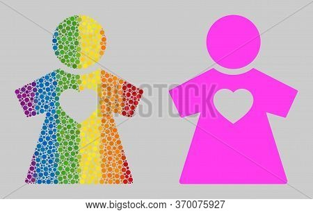 Girlfriend Composition Icon Of Round Dots In Various Sizes And Spectrum Colorful Color Tones. A Dott