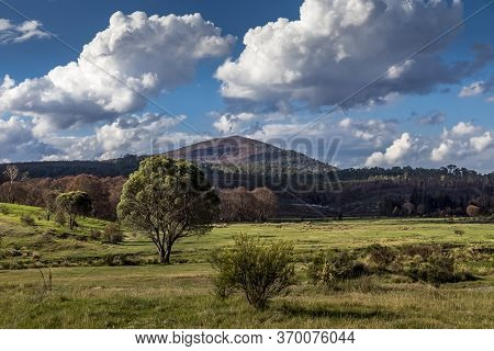 Agriculture Landscape In New South Wales, Australia At A Cloudy And Stormy Day In Summer.