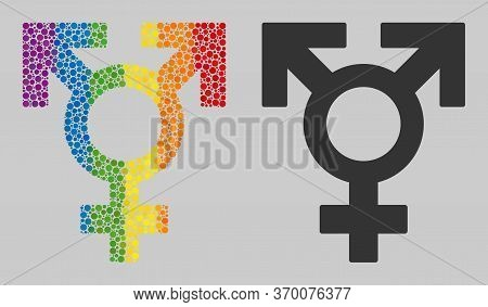 Polyandry Sex Symbol Composition Icon Of Round Dots In Variable Sizes And Spectrum Multicolored Shad