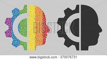 Cyborg Head Mosaic Icon Of Round Items In Variable Sizes And Rainbow Color Tinges. A Dotted Lgbt-col
