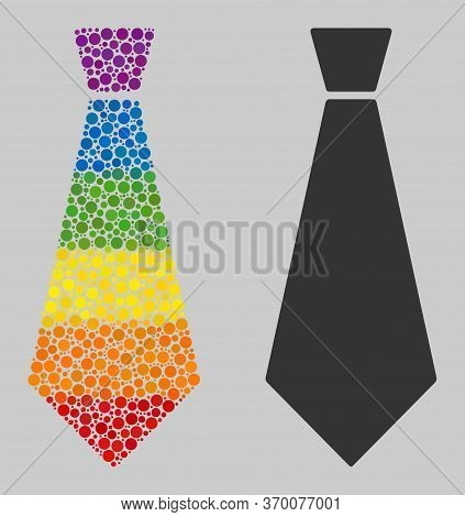 Male Tie Composition Icon Of Round Items In Various Sizes And Spectrum Color Hues. A Dotted Lgbt-col