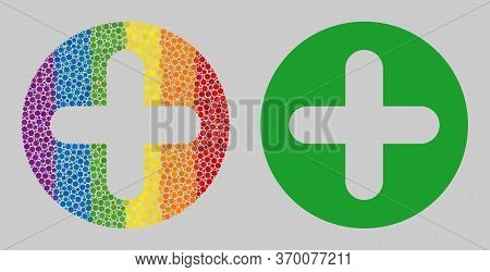 Add Collage Icon Of Filled Circles In Variable Sizes And Rainbow Colored Color Tints. A Dotted Lgbt-