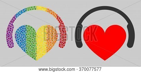 Love Dj Composition Icon Of Round Items In Different Sizes And Spectrum Colored Shades. A Dotted Lgb