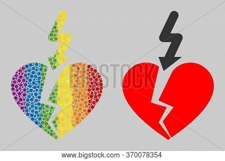 Break Love Heart Collage Icon Of Round Items In Various Sizes And Spectrum Colored Color Tinges. A D