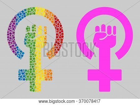 Feminism Symbol Collage Icon Of Circle Spots In Different Sizes And Rainbow Colored Color Tinges. A