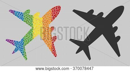 Airplane Collage Icon Of Spheric Blots In Variable Sizes And Rainbow Bright Color Tinges. A Dotted L