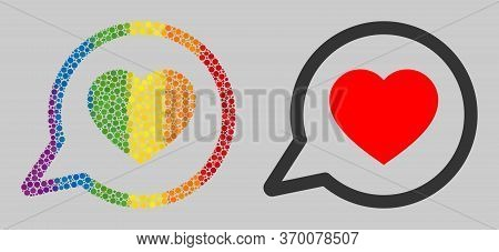 Favorite Message Mosaic Icon Of Circle Elements In Different Sizes And Spectrum Color Tinges. A Dott