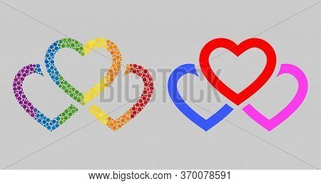Triple Love Hearts Mosaic Icon Of Circle Spots In Variable Sizes And Spectrum Bright Shades. A Dotte