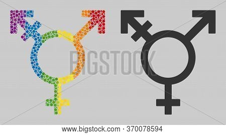 Three Gender Symbol Composition Icon Of Circle Spots In Different Sizes And Spectrum Color Tones. A
