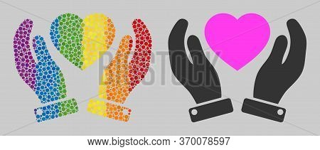 Valentine Heart Care Hands Collage Icon Of Circle Elements In Various Sizes And Spectrum Colored Col